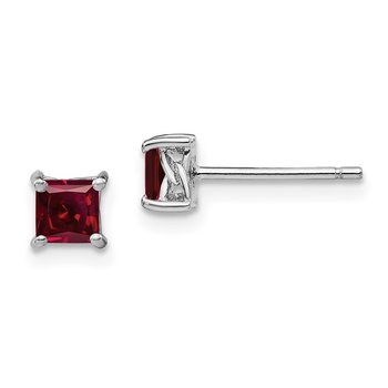 Sterling Silver 4mm Princess Created Ruby Post Earrings
