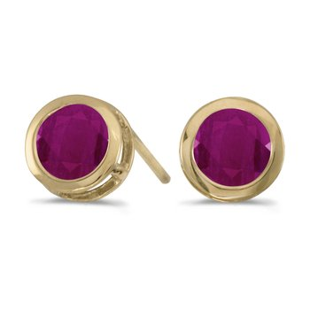 14k Yellow Gold Round Ruby Bezel Stud Earrings