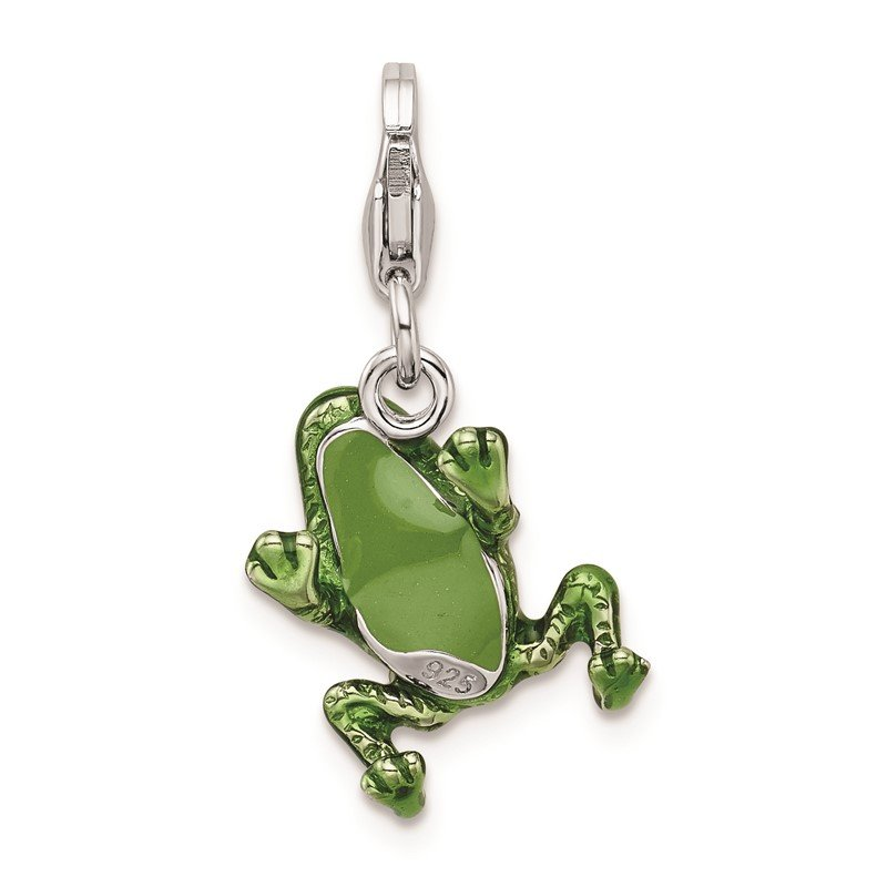 Quality Gold Sterling Silver RH w/Lobster Clasp 3-D Enameled Frog Charm