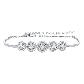 Tru Reflections Prong Set Diamond Bangle in 14K White Gold (1 ct. tw.)
