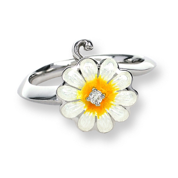 Sterling Silver Daisy Ring-White.  Diamonds.