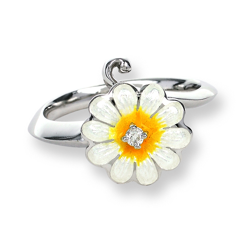 Nicole Barr Designs Sterling Silver Daisy Ring-White.  Diamonds.