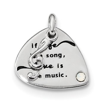 Sterling Silver/RH-plated/Swarovski Elem/Antique Guitar Pendant