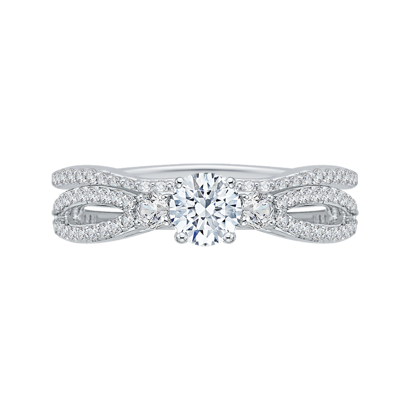 Promezza 14K White Gold Round Diamond Engagement Ring with Split Shank