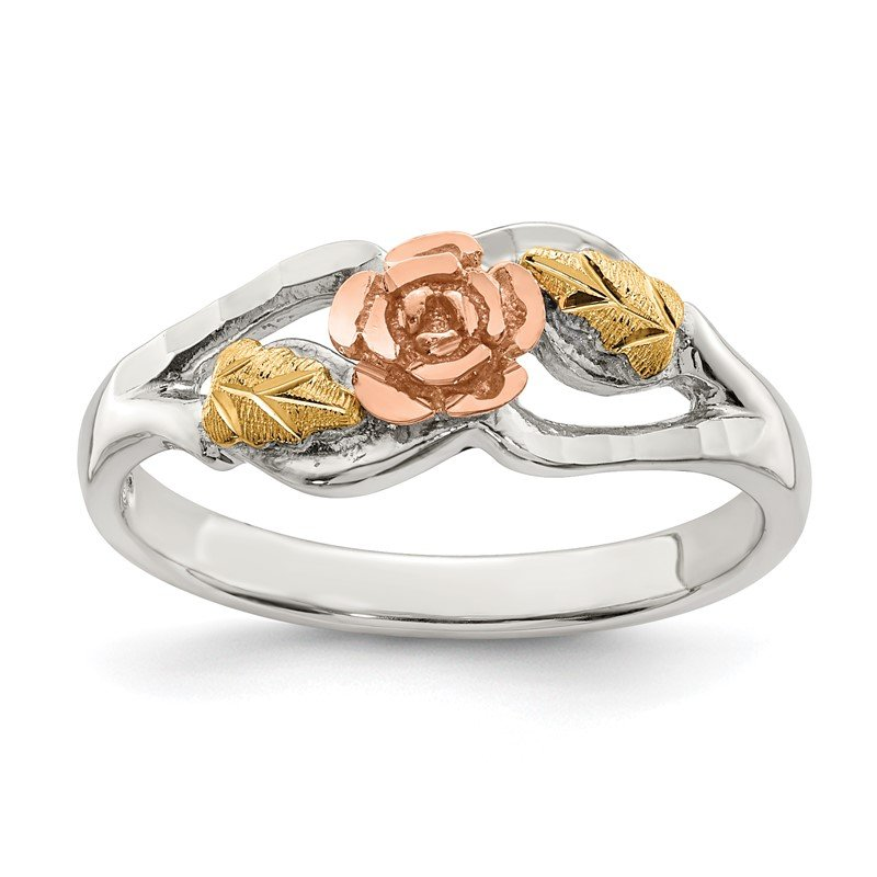 Quality Gold Sterling Silver & 12k Rose Ring