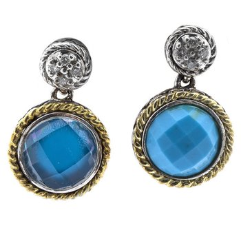18kt and Sterling Silver Round Doublet Turquoise and Diamond Earrings