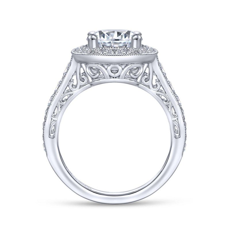 Gabriel Bridal Vintage 14K White Gold Round Halo Diamond Engagement Ring