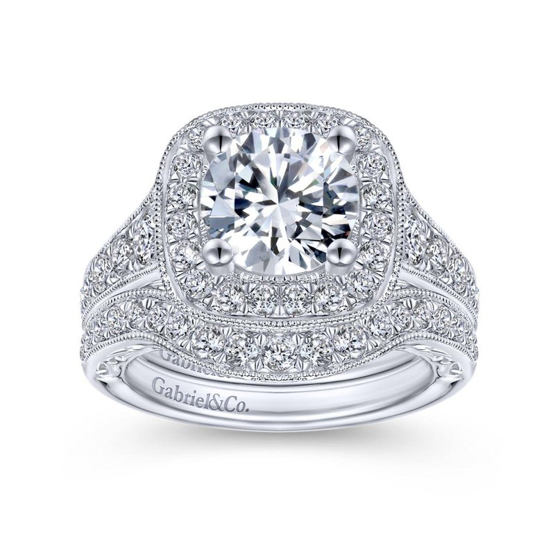 Gabriel Bridal Bestsellers Vintage 14K White Gold Round Halo Diamond Engagement Ring