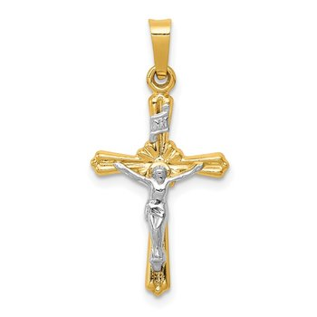 14k Two-tone Flower Center INRI Crucifix Pendant