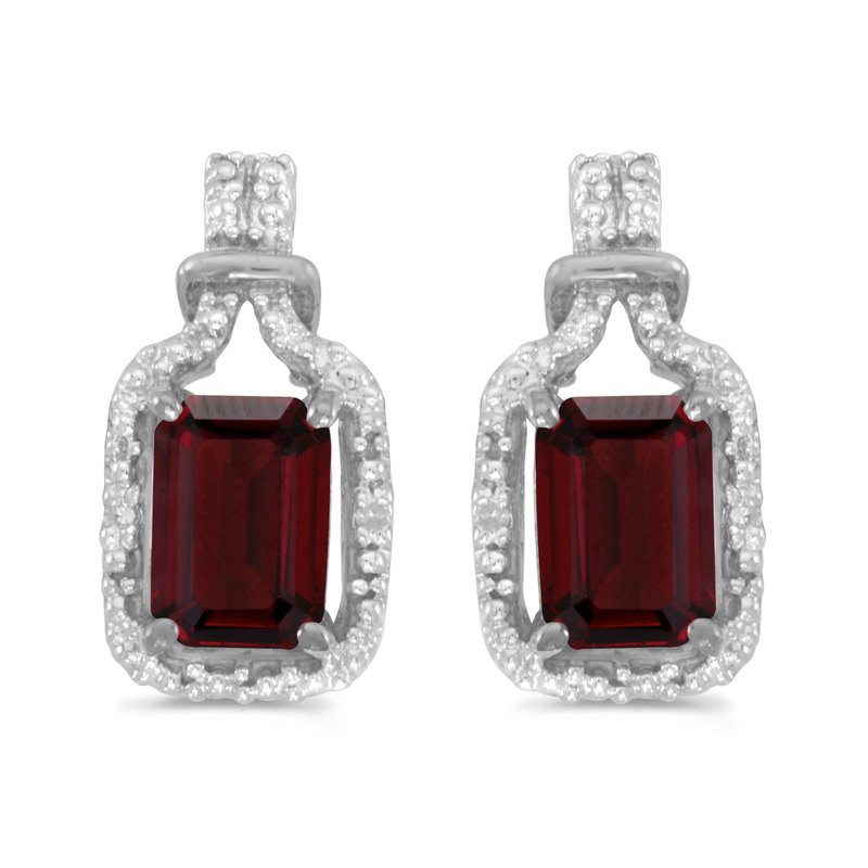 Color Merchants 14k White Gold Emerald-cut Garnet And Diamond Earrings