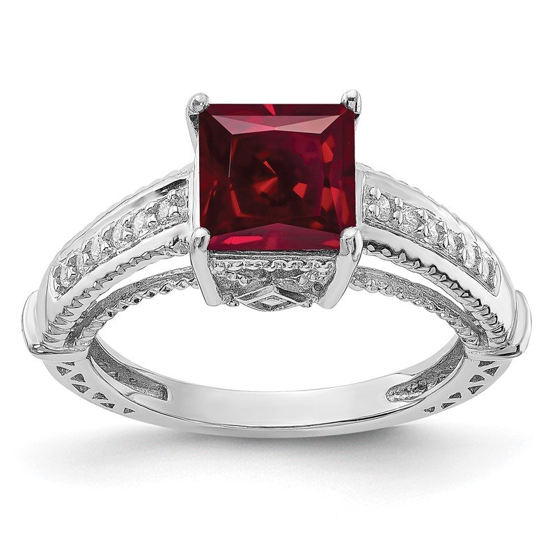 Quality Gold Sterling Silver Rhodium-plated Synthetic Ruby & CZ Ring