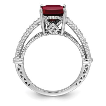 Sterling Silver Rhodium-plated Synthetic Ruby & CZ Ring