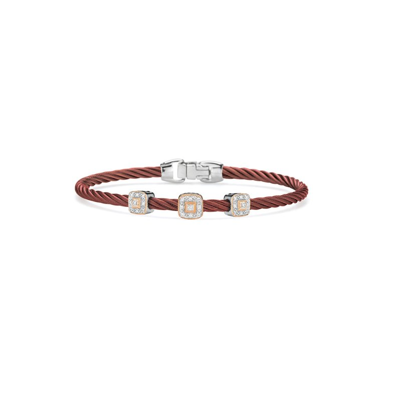 ALOR Catalog Burgundy Cable Essential Stackable Bracelet with Triple Square Diamond station set in 18kt White & Rose Gold