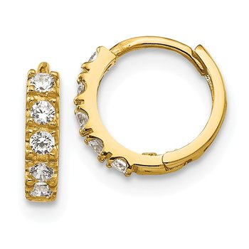 14k Madi K CZ Children's Hinged Hoop Earrings