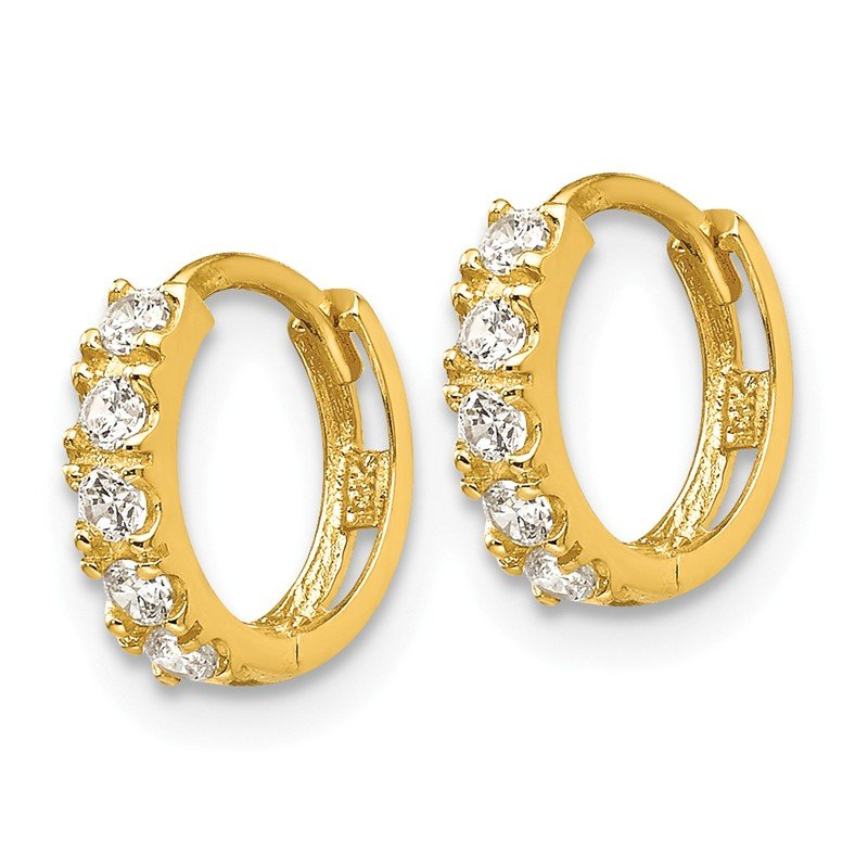Quality Gold 14k Madi K CZ Children's Hinged Hoop Earrings