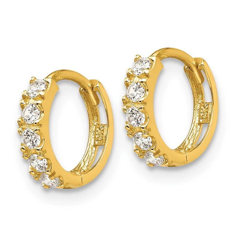 Real 14kt Yellow Gold Madi K Oval w//3-CZs Dangle Post Earrings