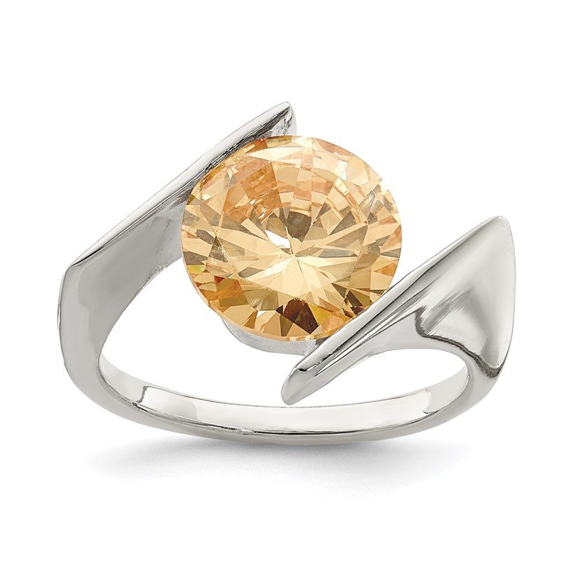Quality Gold Sterling Silver Champagne CZ Ring