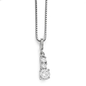 Sterling Silver Brilliant Embers Rhodium-plated CZ 3 Stone Necklace