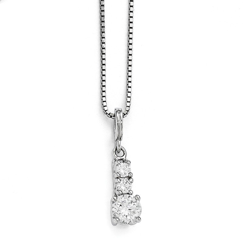 Quality Gold Sterling Silver Brilliant Embers Rhodium-plated CZ 3 Stone Necklace