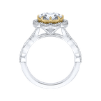 Carizza 14K Two-Tone Gold Oval Diamond Halo Engagement Ring (Semi-Mount)