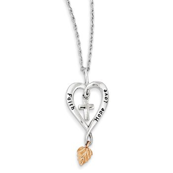 Sterling Silver & 12K Rose Leaf Faith, Hope, Love Heart Necklace