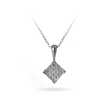 14K WG Diamond Invisible Set Pendant With Chain