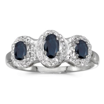 14k White Gold Oval Sapphire And Diamond Three Stone Ring