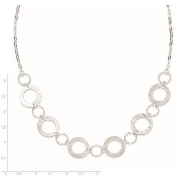 Sterling Silver Polished and Textured Fancy Circle Necklace
