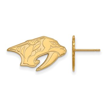 Gold-Plated Sterling Silver Nashville Predators NHL Earrings