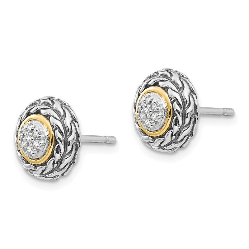 Sterling Silver w/14k Diamond Earrings