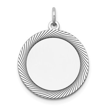 14k White Gold Etched Design .018 Gauge Round Engravable Charm