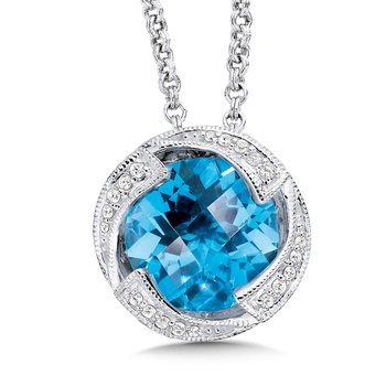 Blue Topaz and Diamond Pendant in Sterling Silver.