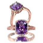 Colore Oro Amethyst and Diamond Ring in 14K Rose Gold