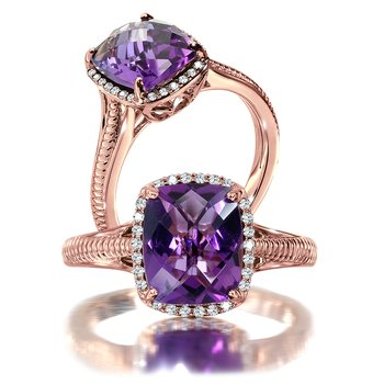 Amethyst and Diamond Ring in 14K Rose Gold