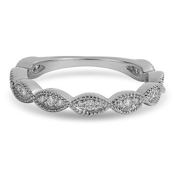 14K WG and diamond Stackable band in prong setting