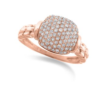 Diamond Fashion Ring in 14k Rose Gold with 84 Diamonds weighing .34ct tw.