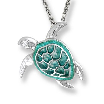 Green Turtle Necklace.Sterling Silver-White Sapphire - Plique-a-Jour