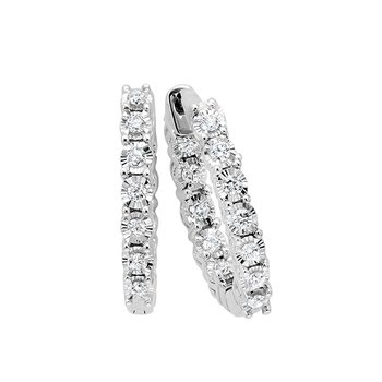 Diamond Starburst Inside Out Round Hoop Earrings in 14k White Gold (1 ctw)