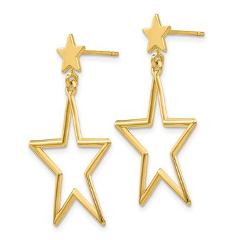 14k Star Dangle Post Earrings