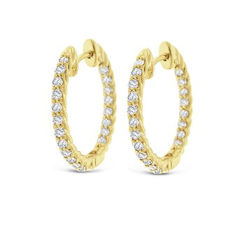 Diamond Inside Outside Hoop Earrings in 14k Yellow Gold with 40 Diamonds weighing .60ct tw.