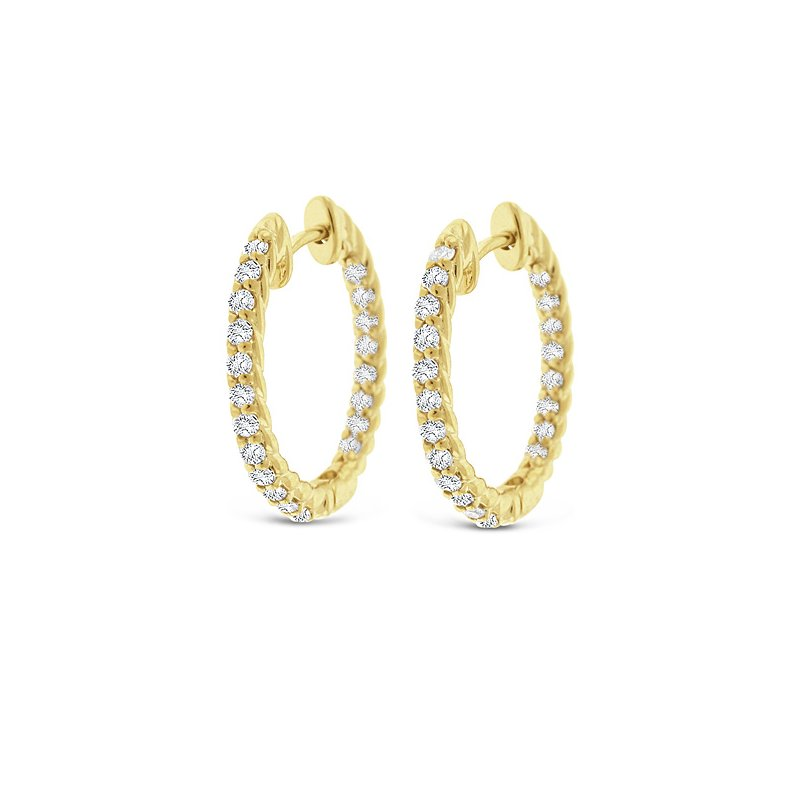 KC Designs Diamond Inside Outside Hoop Earrings in 14k Yellow Gold with 40 Diamonds weighing .60ct tw.