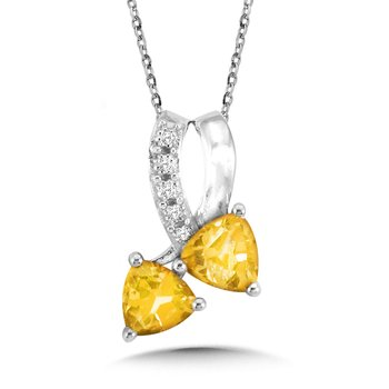 Trillion-Cut Citrine and Diamond Pendant