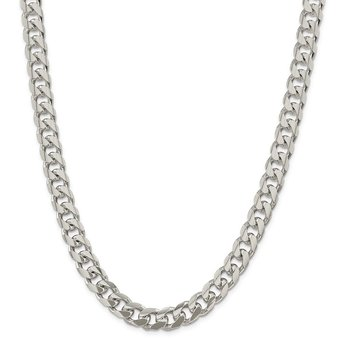 Sterling Silver 10.5mm Domed w/ Side D/C Curb Chain