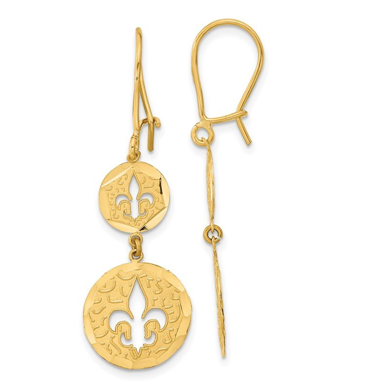 Quality Gold 14k Diamond-cut Fleur de Lis Dangle Kidney Wire Earrings