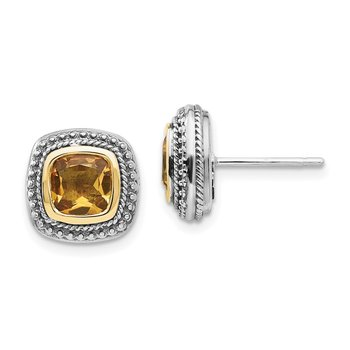 Sterling Silver w/14k Citrine Earrings
