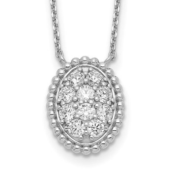 Sterling Silver CZ Oval 18in Necklace