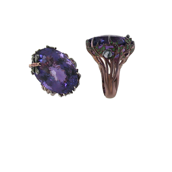 18KT GOLD RING WITH DIAMONDS, AMETHYST AND GREEN TSAZVORITE