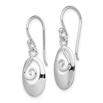 Sterling Silver RH-plated Polished Oval Dangle Dangle Earrings