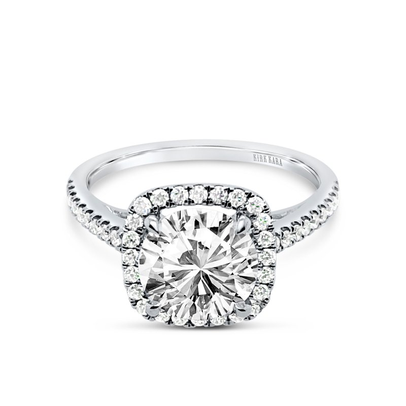 Classic Halo Diamond Shank Engagement Ring