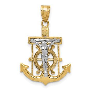 14k Two-tone Diamond-cut Mariner's Cross Pendant